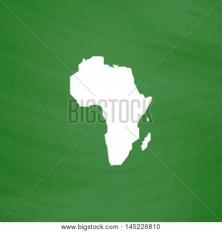 Africa Map. Flat Icon. Imitation draw with white chalk on green chalkboard. Flat Pictogram and School board background. Vector illustration symbol