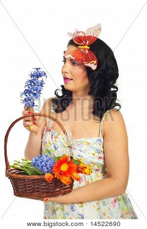 Amazed Spring Woman With Hyacinth