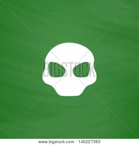 Alien Head. Flat Icon. Imitation draw with white chalk on green chalkboard. Flat Pictogram and School board background. Vector illustration symbol