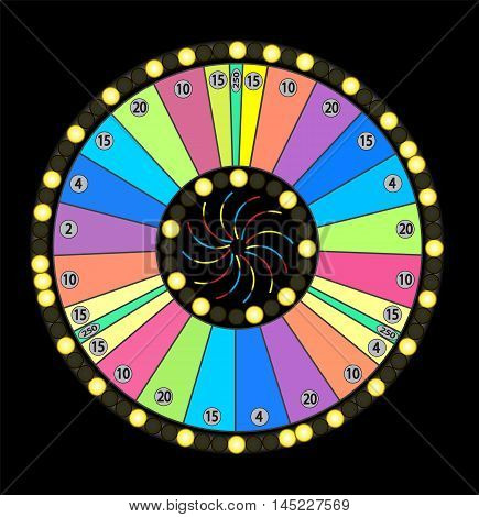 Colour Wheel of Fortune, Game Jackpot on Black Background. Vector Illustration. EPS10
