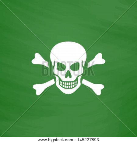 Skull and crossbones. Flat Icon. Imitation draw with white chalk on green chalkboard. Flat Pictogram and School board background. Vector illustration symbol