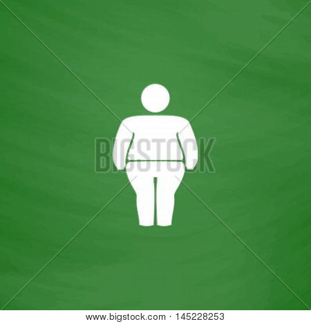 Overweight man symbol. Flat Icon. Imitation draw with white chalk on green chalkboard. Flat Pictogram and School board background. Vector illustration symbol