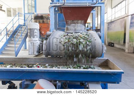 Glass Waste In Recycling Facility. Glass Particles