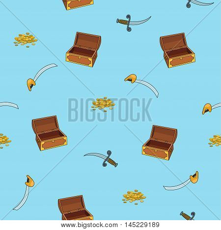 Pirates pattern with chest, dagger, sword, coin. Vector illustration
