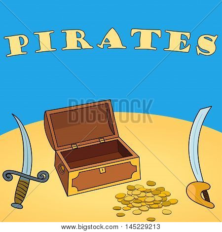 Pirates wallpaper with chest, dagger, sword, coin. Vector illustration