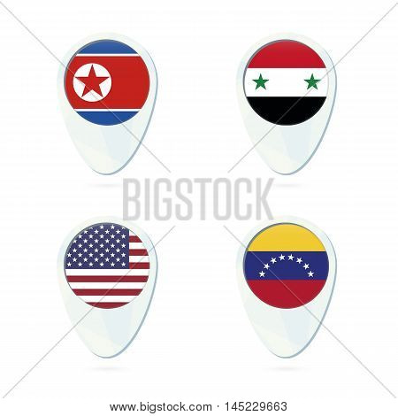 North Korea, Syria, Usa, Venezuela Flag Location Map Pin Icon.