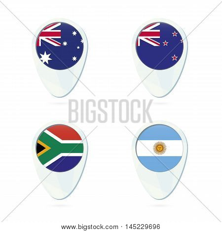 Australia, New Zealand, South Africa, Argentina Flag Location Map Pin Icon.