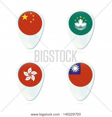 China, Macau, Hong Kong, Taiwan Flag Location Map Pin Icon.