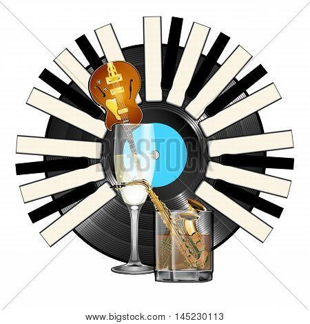 Jazz Instruments saxophone trumpet and jazz guitar in glasses with alcohol on a background of a vinyl record with the piano keys. Isolated objects on a white background.
