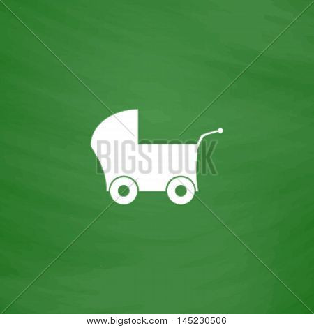 Buggy. Flat Icon. Imitation draw with white chalk on green chalkboard. Flat Pictogram and School board background. Vector illustration symbol