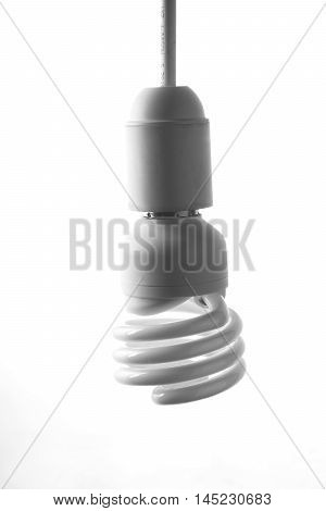 energy saving bulb on white background in high key