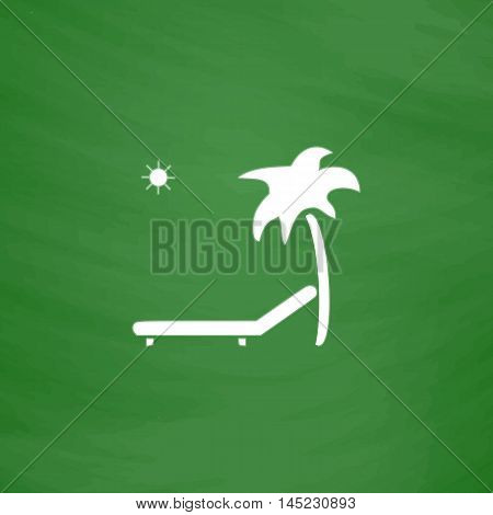 Tropical resort beach. Sunbed Chair. Flat Icon. Imitation draw with white chalk on green chalkboard. Flat Pictogram and School board background. Vector illustration symbol