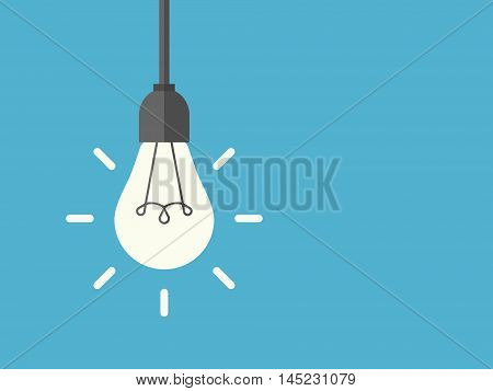 Bright shining lightbulb with rays hanging on wire blue background. Energy idea and insight concept. Flat design. Vector illustration. EPS 8 no transparency