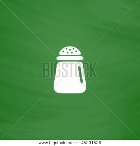 Salt or pepper - Vector icon isolated. Flat Icon. Imitation draw with white chalk on green chalkboard. Flat Pictogram and School board background. Vector illustration symbol