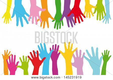 Many colorful hands of a group of people with children and adults as a team