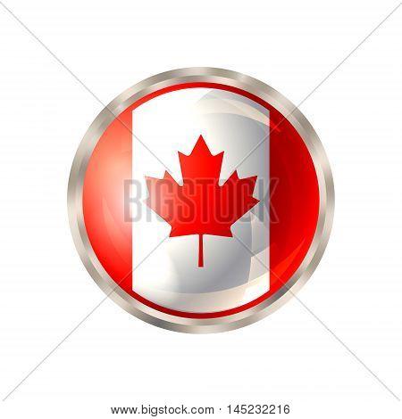 Canada icon. Canada flag button design. Vector illustration