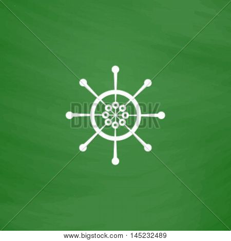 Yacht wheel. Helm silhouette. Flat Icon. Imitation draw with white chalk on green chalkboard. Flat Pictogram and School board background. Vector illustration symbol
