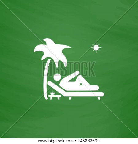 Man relaxing on a deck chair under palm tree and standing table with a cup of coffee. Flat Icon. Imitation draw with white chalk on green chalkboard. Flat Pictogram and School board background. Vector illustration symbol