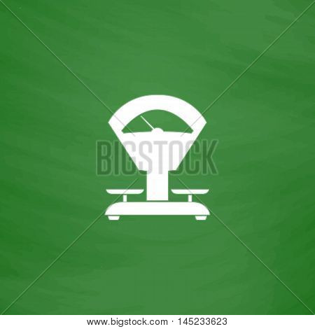 Weight Scale. Flat Icon. Imitation draw with white chalk on green chalkboard. Flat Pictogram and School board background. Vector illustration symbol