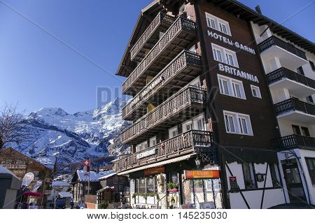 SWITZERLAND, SAAS-FEE, DECEMBER, 26, 2015 - Modern hotel Britannia in the charming Swiss resort of Saas-Fee, Switzerland