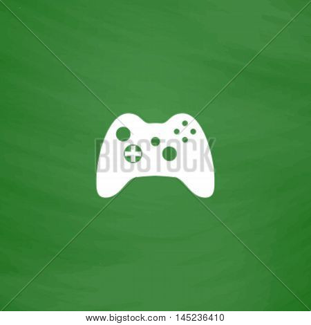 Gamepad. Flat Icon. Imitation draw with white chalk on green chalkboard. Flat Pictogram and School board background. Vector illustration symbol