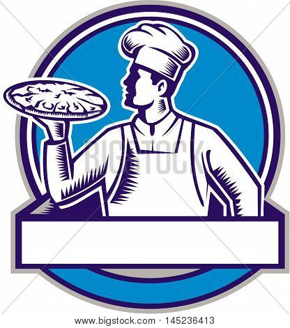 Illustration of a pizza chef baker holding serving pizza looking to the side set inside circle on isolated background done in retro woodcut style.