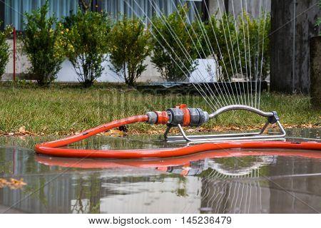 Sprinkler Flowing Waterstreams Outdoors Summer Hot Day
