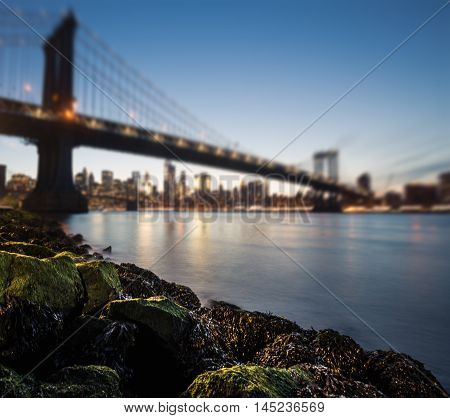 Blurred Manhattan Bridge At Night