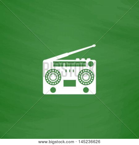 Classic 80s boombox. Flat Icon. Imitation draw with white chalk on green chalkboard. Flat Pictogram and School board background. Vector illustration symbol