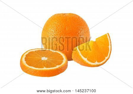 cut orange fruits isolated on white background with clipping pat
