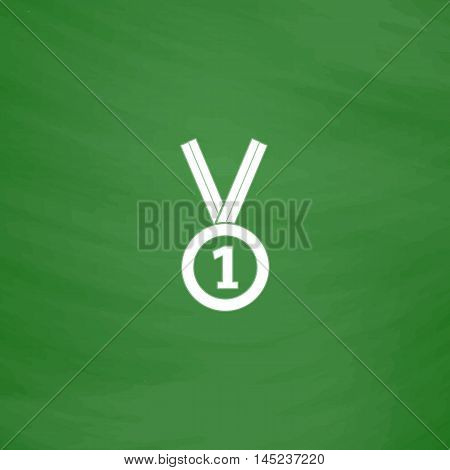 Award medal with ribbon. Flat Icon. Imitation draw with white chalk on green chalkboard. Flat Pictogram and School board background. Vector illustration symbol