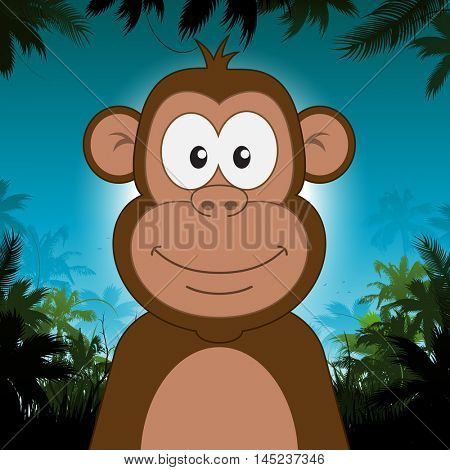 Cute cartoon monkey in front of jungle background