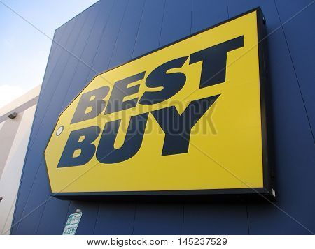 HONOLULU - AUGUST 12: Best Buy store sign. Best Buy is an electronics retailer accounting for 19% of the U.S. market. August 12 2012 Honolulu Hawaii.