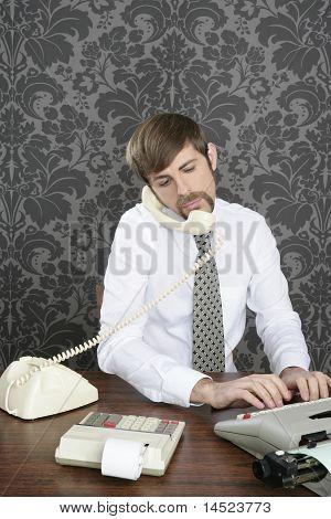 Retro Mustache Multitask Businessman Office Desk