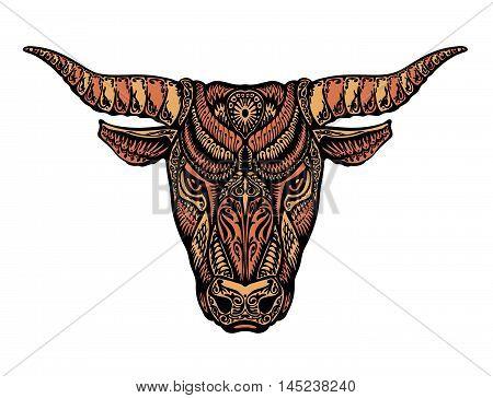 Bull, ox, taurus painted tribal ethnic ornament. Vector illustration