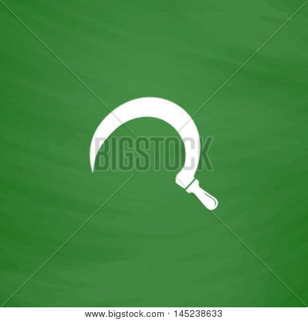 Sickles. Flat Icon. Imitation draw with white chalk on green chalkboard. Flat Pictogram and School board background. Vector illustration symbol