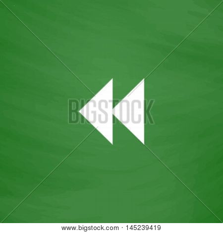 Rewind back. Flat Icon. Imitation draw with white chalk on green chalkboard. Flat Pictogram and School board background. Vector illustration symbol