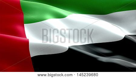 Waving Fabric Texture Of The Flag With Color Of United Arab Emirates