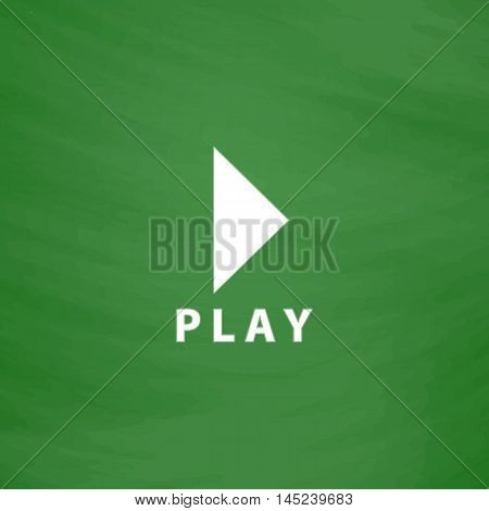 Play button. Flat Icon. Imitation draw with white chalk on green chalkboard. Flat Pictogram and School board background. Vector illustration symbol