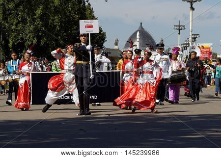 MOSCOW, RUSSIA - August 27, 2016: Team of Singapore on the Festival of military orchestras
