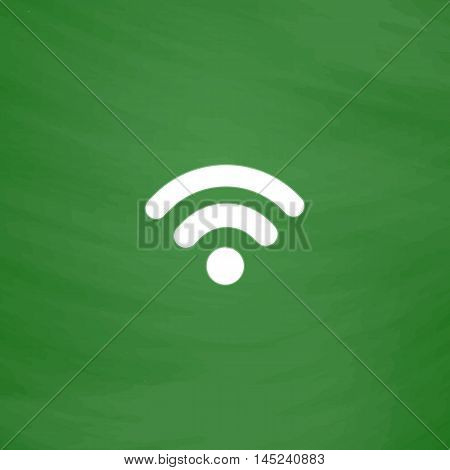 Simple Podcast. Flat Icon. Imitation draw with white chalk on green chalkboard. Flat Pictogram and School board background. Vector illustration symbol