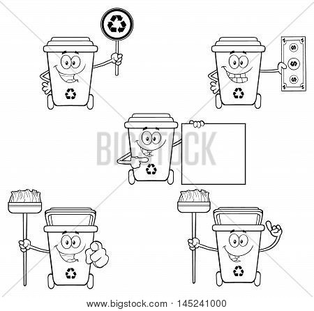 Black And White Recycle Bin Cartoon Character. Collection Set Isolated On White Background