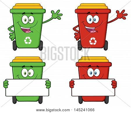 Recycle Bin Cartoon Character 5. Collection Set Isolated On White Background
