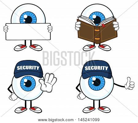 Blue Eyeball Guy Cartoon Mascot Character 3. Collection Set Isolated On White Background