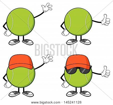 Tennis Ball Faceless Cartoon Mascot Character 2. Collection Set Isolated On White Background