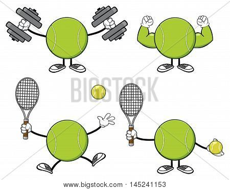 Tennis Ball Faceless Cartoon Mascot Character. Collection Set Isolated On White Background