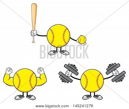 Softball Faceless Player Cartoon Character 8. Collection Set Isolated On White Background