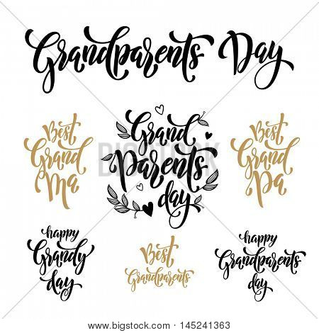 Happy Grandparents Day modern lettering for grandfather, grandmother greeting card set. Hand drawn vector calligraphy. Floral leaves and hearts pattern poster.