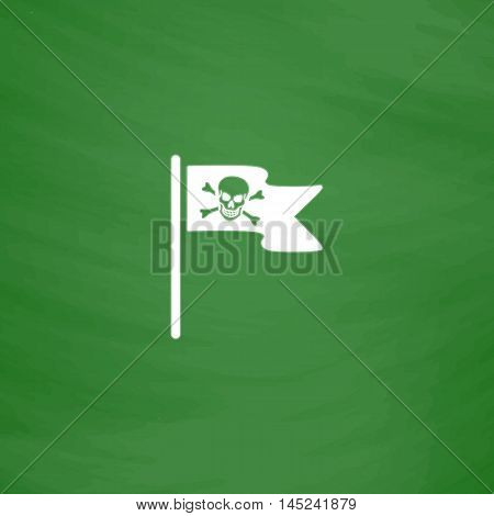 Jolly Roger or Skull and Cross bones Pirate flag. Flat Icon. Imitation draw with white chalk on green chalkboard. Flat Pictogram and School board background. Vector illustration symbol