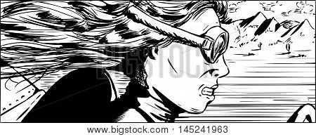 Outlined Side View Of Woman Racing Car